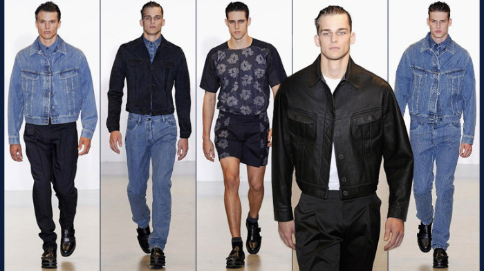 male models on a catwalk, oversized 90s denim jackets, with retro jeans, patterned shorts with a matching t-shirt