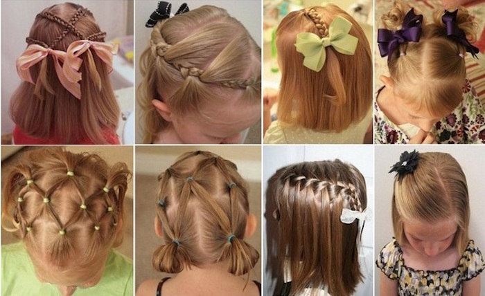 collage showing eight images, of different braided hairstyles, worn by small children, with shoulder-length hair, girl haircuts, with ribbons and bows