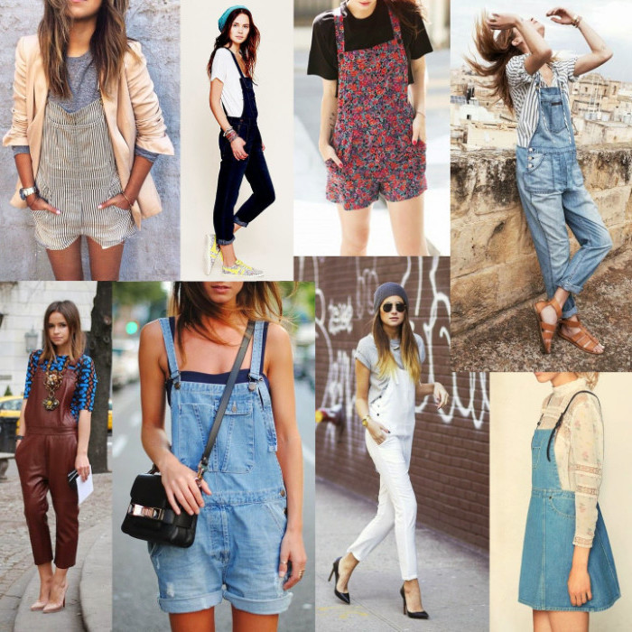 collage with eight images, of different overalls, 90s clothes womens, short and long, denim and leather effect, worn by various women