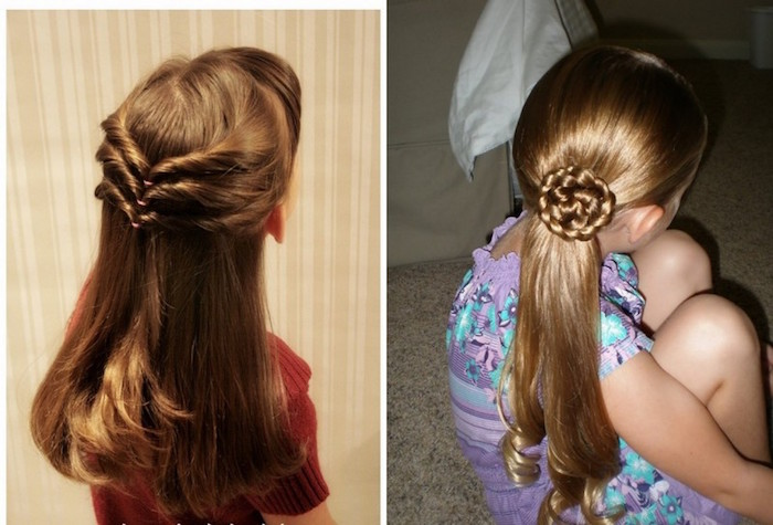 girl haircuts, two children with brunette hair, one decorated with three rows of twists at the back, and the other with a ponytail, and swirl-like motif