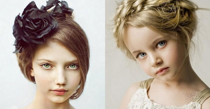 black rose hair ornament, decorating the head of a, young brunette girl, wearing an up-do, cute girls hairstyles, next image shows, a small blonde child, with a crown braid