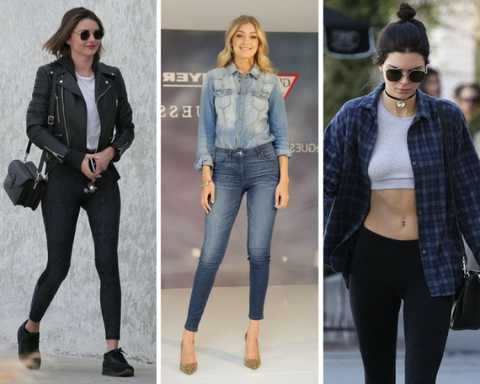 gigi hadid and kylie jenner, wearing skinny jeans and black leggings, with black leather jacket, faded denim shirt, and cropped top, under a blue flannel shirt