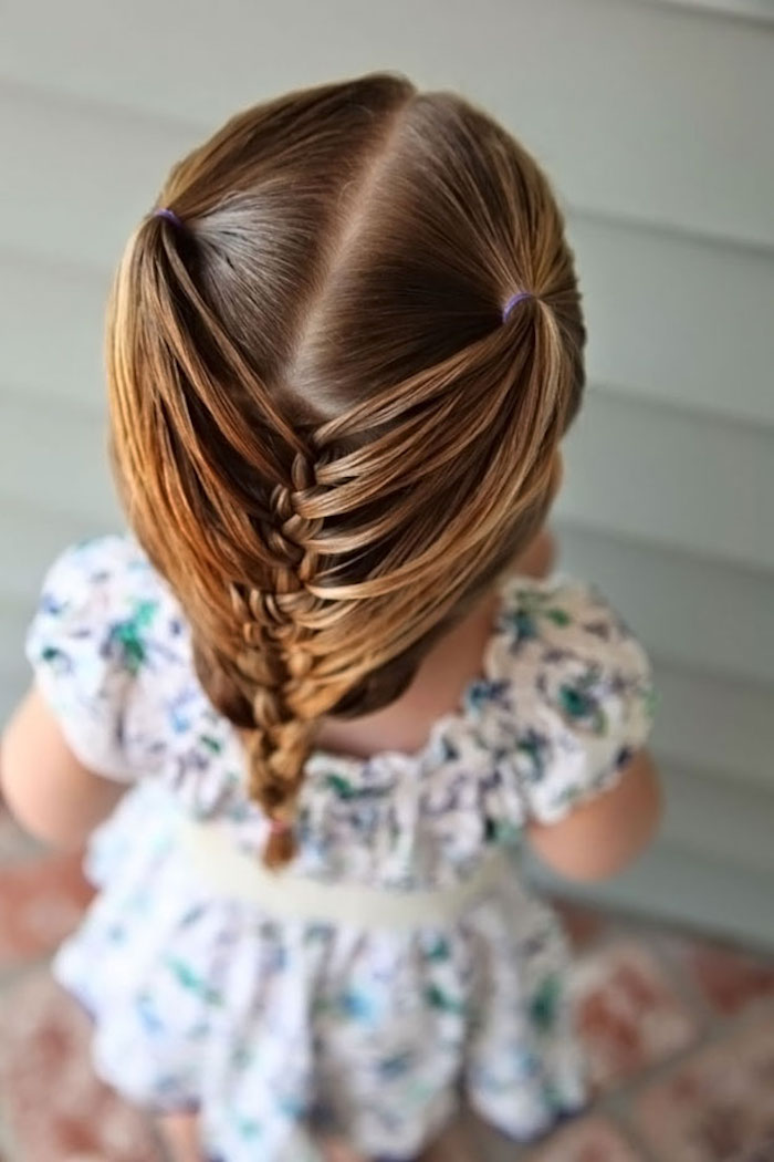 caramel blonde hair, tied in two pigtails, and then braided, on the head of a small child, in a floral dress, cute girls hairstyles