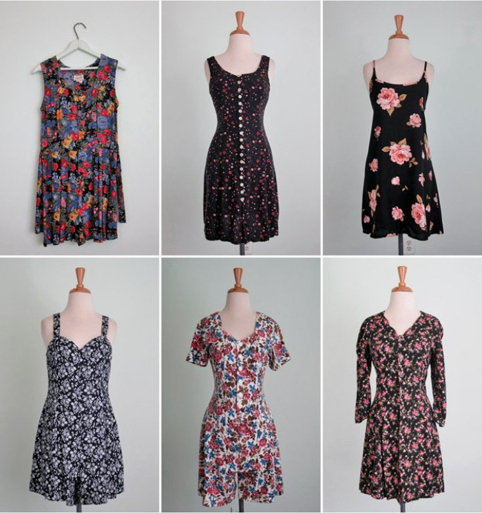 flower patterns in different styles and sizes, on six mini dresses, sleeveless and strappy, short and long-sleeved, black white and multicolored