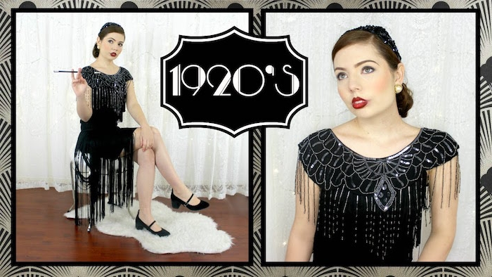 full-body and close up images, of a woman in a black, gatsby inspired dresses, with long fringed hem, and silver art deco embroidery, she's wearing 1920s make up, and holding a long cigarette