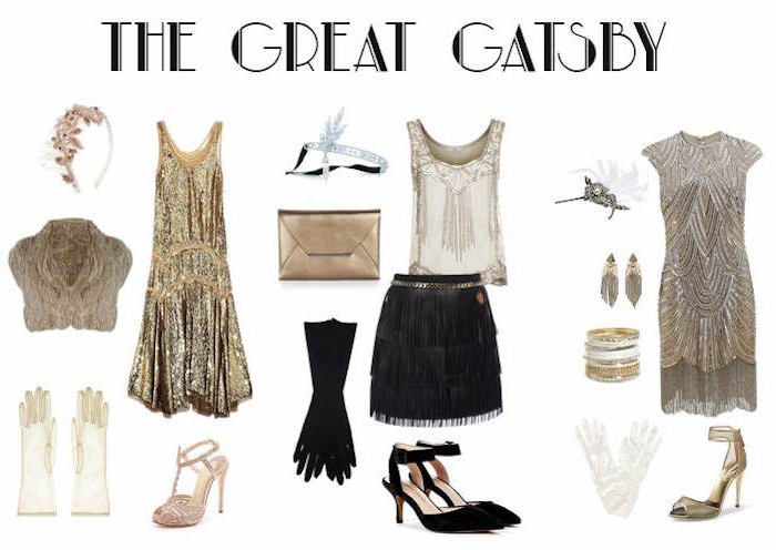 skirt with fringe in black, and a cream embroidered top, next to two gatsby inspired dresses, in gold and silver, surrounded by 1920s accessories