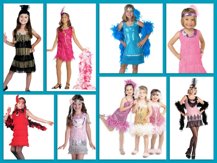children and a young women, all wearing gatsby inspired dresses, in various colors and styles, accessorized with headbands and feather boas