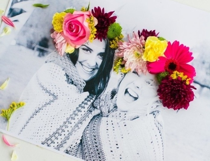 homemade gift ideas, black and white photo collage, of two smiling, and hugging young women, their heads decorated with fresh flowers
