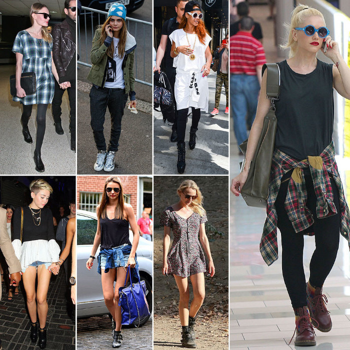 seven female celebrities, wearing different 90's clothes, retro mini dresses, flannel shirts round their waists, shorts and baggy pants