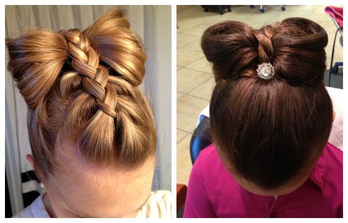 similar braided hairdos, with large bow-like details, kids hairstyles, one done on honey blonde hair, and one on chocolate brown hair