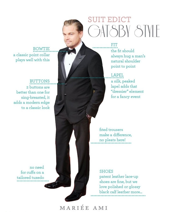 advice on how to dress like gatsby, leonardo di carprio, in a black smocking, with shining lapels, white shirt and a bowtie, hands in his pockets, 20s mens fashion, black patent shoes