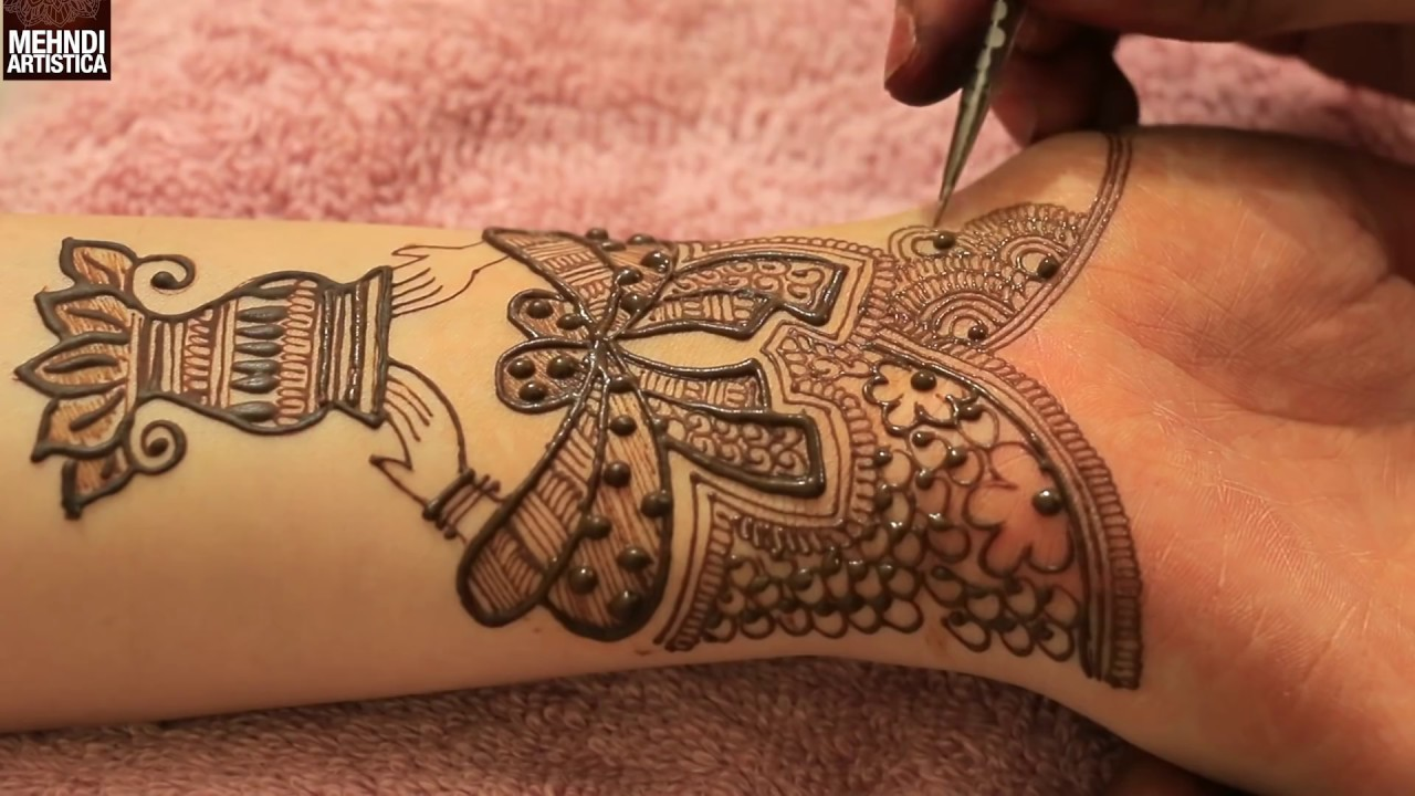 adding the finishing touches, on a traditional mehndi, drawn with brown henna, cute henna designs, depicting hands holding a vase