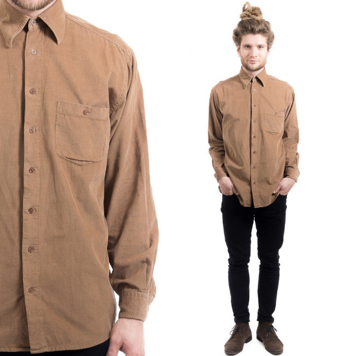 corduroy button up shirt in beige, worn by a man with black skinny trousers, and brown suede shoes, 90s clothes mens, blonde man bun