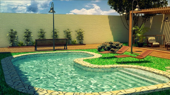 bench and two sun beds, near a kidney-shaped pool,in a garden with bright green grass, surrounded by a white brick wall