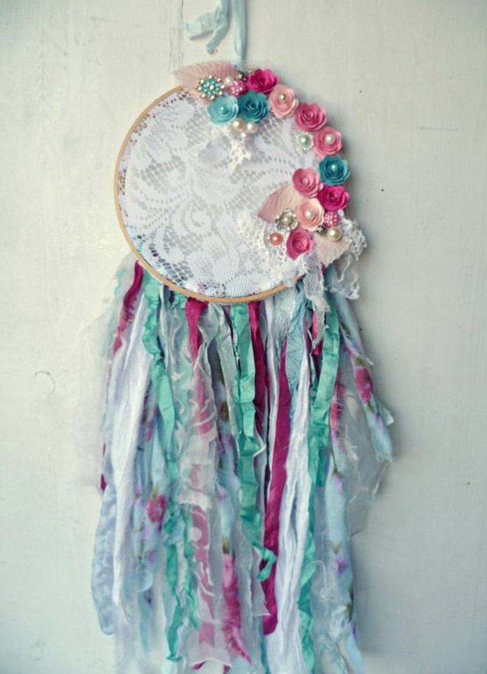 teal and pale pink, turquoise and dark pink floral motifs, on a dreamcatcher with white lace detail, dreamcatcher designs, many multicolored tassels