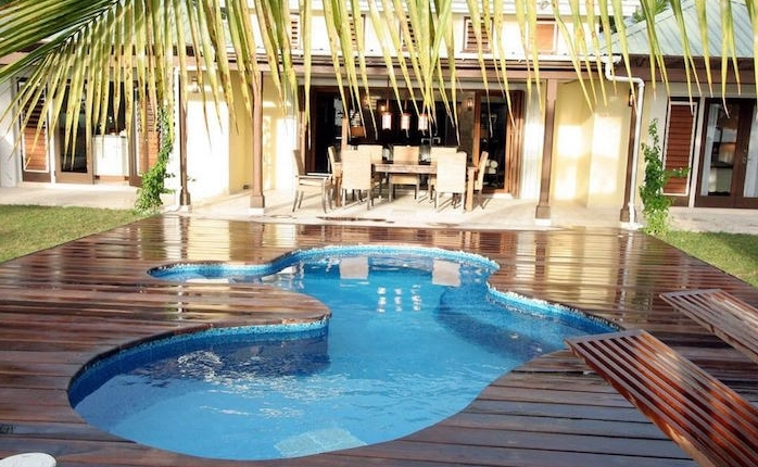 small backyard pool ideas, wet dark brown planks, on a patio containing a small, irregularly shaped blue pool, with a palm leaf overhead