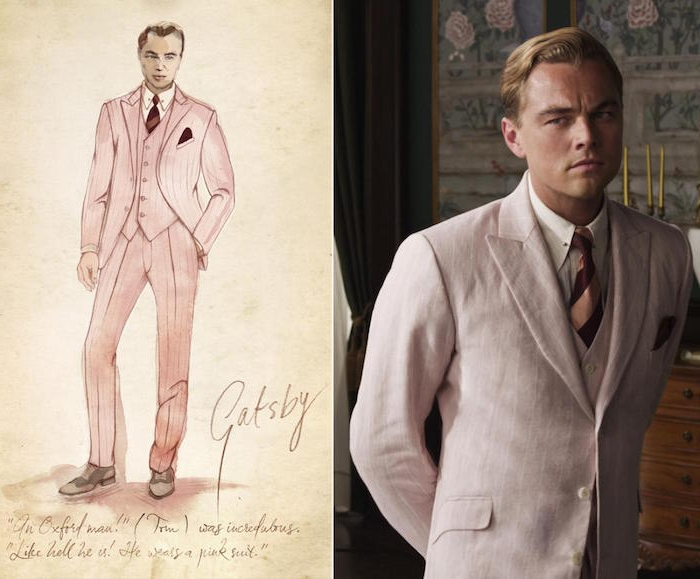 sketch of the great gatsby, in a pale pink three piece suit, next to an image of leondardo di caprio, dressed in a similar outfit, great gatsby costumes, for the 2013 motion picture