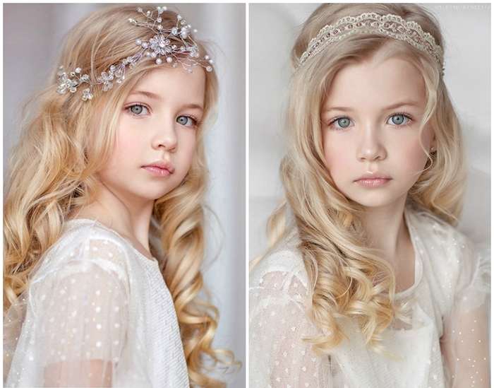 two images of a young girl, with long curled, light blonde hair, hairstyles for little girls, dressed in a white lace dress, and wearing a different hair ornament, in every picture
