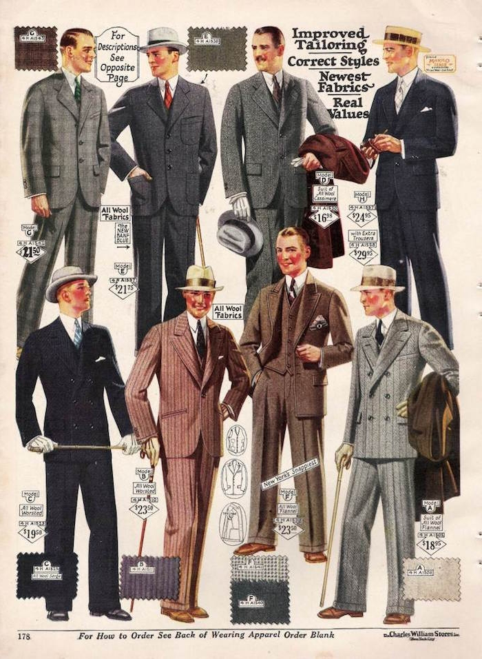 old page from a 20s mens fashion magazine, with eight color illustrations, of men in vintage suits and hats, holding coats and canes