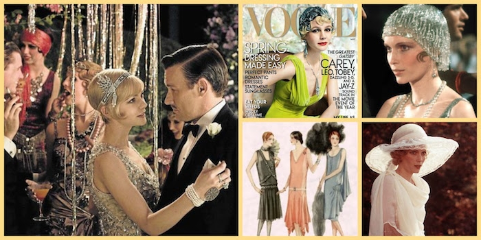 shots from two film adaptations of the great gatsby, showing mia furrow and carey mulligan, in gatsby inspired dresses and accessories, magazine cover and sketch