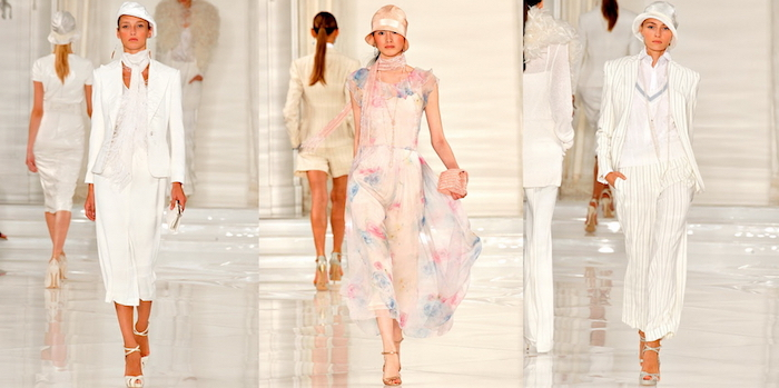 contemporary clothes in pale pink and white, inspired by roaring 20s fashion, midi dress with a blazer, floaty floral dress with a cloche, pinstripe suit with a fedora