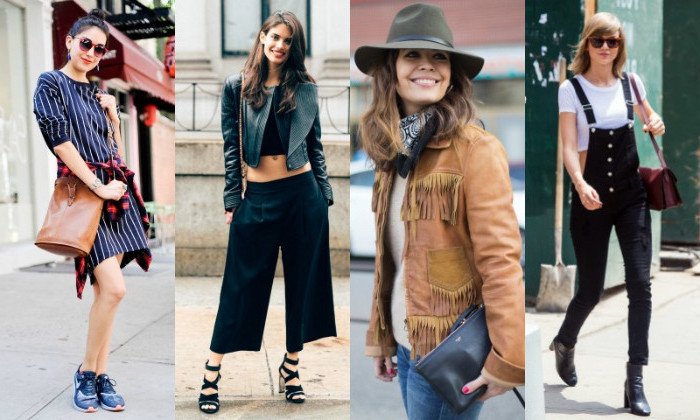 suede leather jacket, in beige with fringe, striped mini dress and flannel shirt round the waist, black skinny overalls, wide baggy pants, on four women