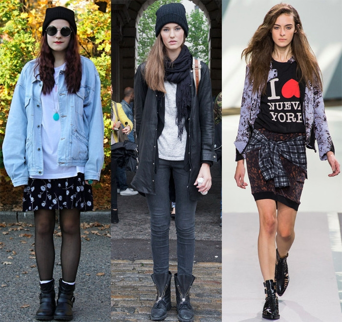autumn outfits with 90s elements, bulky pale blue denim jacket, beanie hats and black ankle boots, graphic tee and flannel shirt
