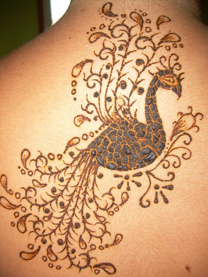big peacock tattoo, done in brown henna, seen in close up, on the back of a person, the top layer of the tattoo is about to peel off