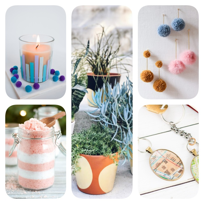 diy christmas gifts, photo collage of different gift ideas, bath salts candles and ceramic pots, keychains and earrings