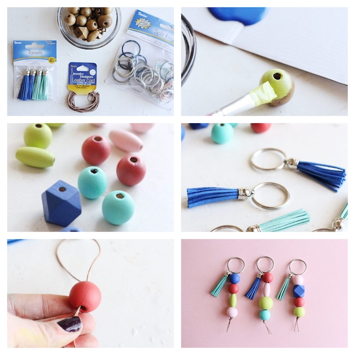 photo collage of step by step diy tutorial, creative gift ideas, how to make earrings with colorful beads
