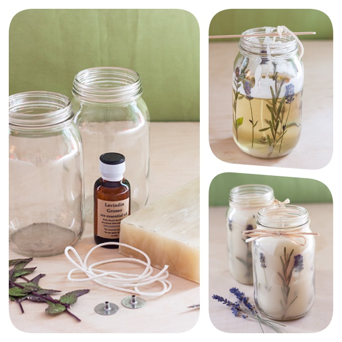 photo collage of step by step diy tutorial, diy birthday gifts, how to make candles with lavender branches inside