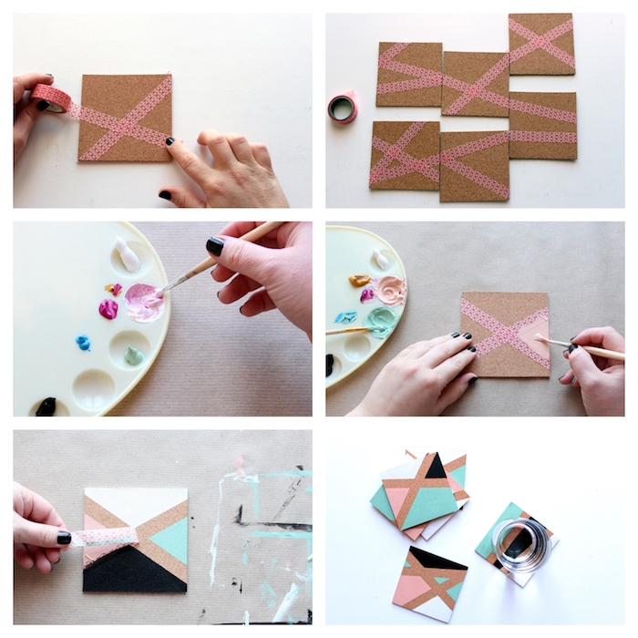 diy christmas gifts for boyfriend, photo collage of step by step diy tutorial, colorful geometrical coasters