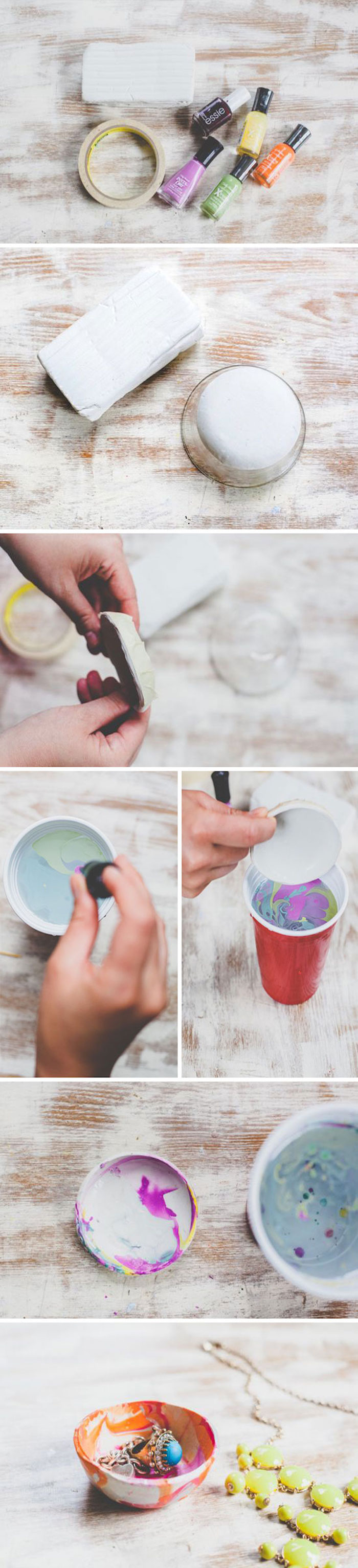 photo collage of step by step diy tutorial, how to make a jewelry bowl out of clay, diy christmas gifts for boyfriend