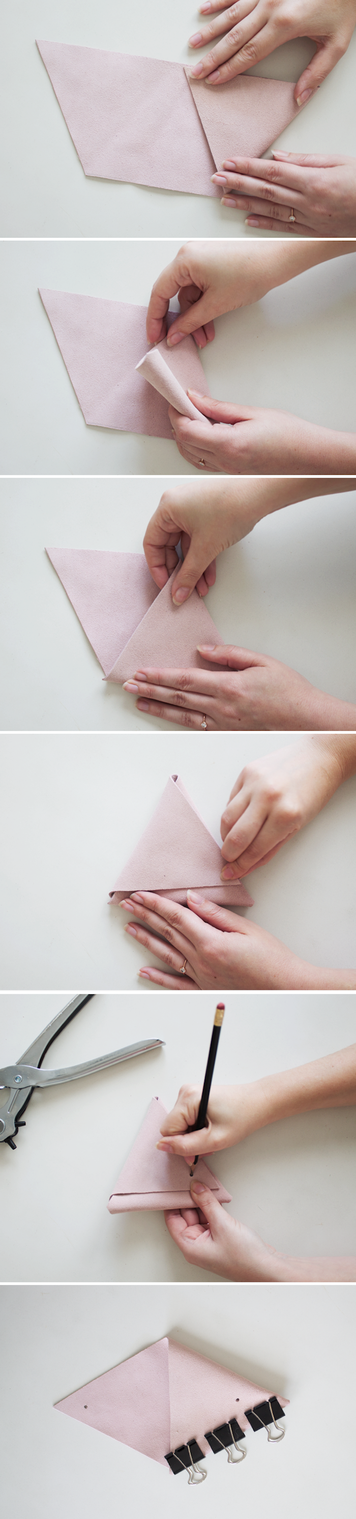 photo collage of step by step diy tutorial, diy gifts for friends, how to make pink leather pouches, wall mounted organizers
