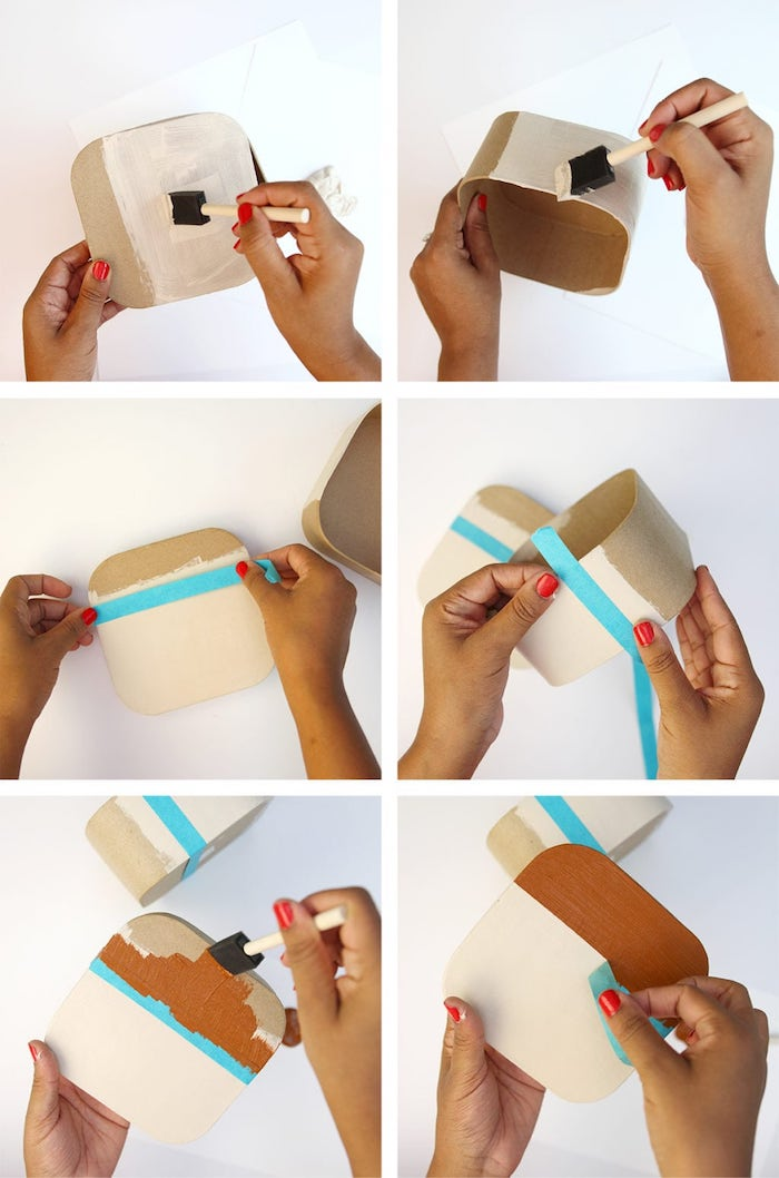 diy birthday gifts, photo collage of step by step diy tutorial, how to make a carton box for photos, instagram inspired