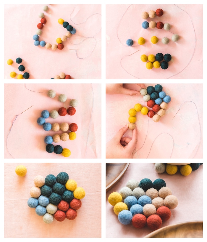 photo collage of step by step diy tutorial, how to make coasters with colorful pompoms, homemade christmas gifts