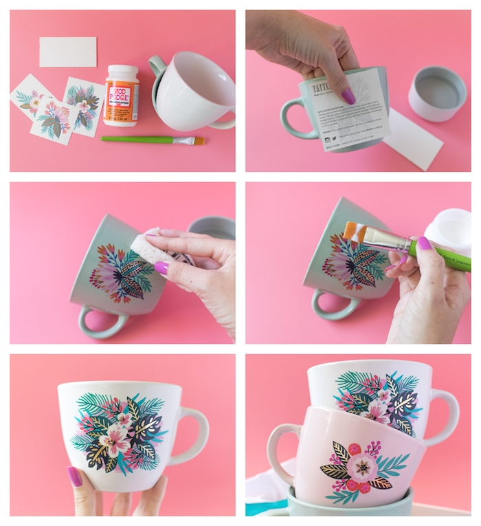 photo collage of step by step diy tutorial, diy gifts for friends, white coffee mug decorated with floral motifs