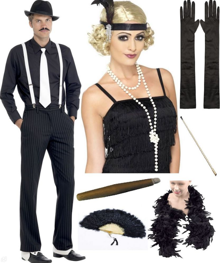 assortment of costumes and accessories, for a 1920s themed party, man in a retro gangster costume, woman in a black flapper dress and blonde wig, gloves and a feather boa