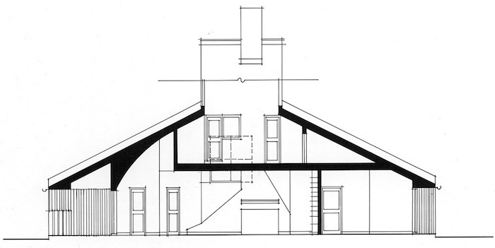 blue print of the vanna venturi house, post modernity architecture icon, drawn in black, on a white piece of paper