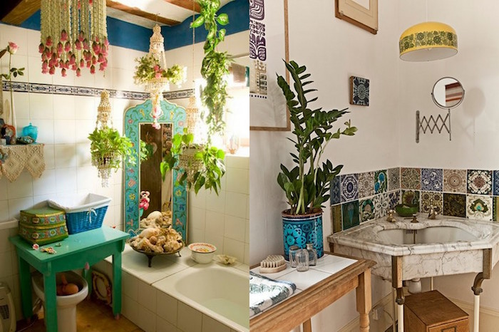 two boho style bathrooms, one has a small bathtub, a mirror in a turquoise ornamental frame, a small matching turquoise table, and lots of potted plants, small bathroom decoration ideas, the other one has an antique marble sink, a potted plant, and a white wall, decorated with a patchwork of Moroccan tiles