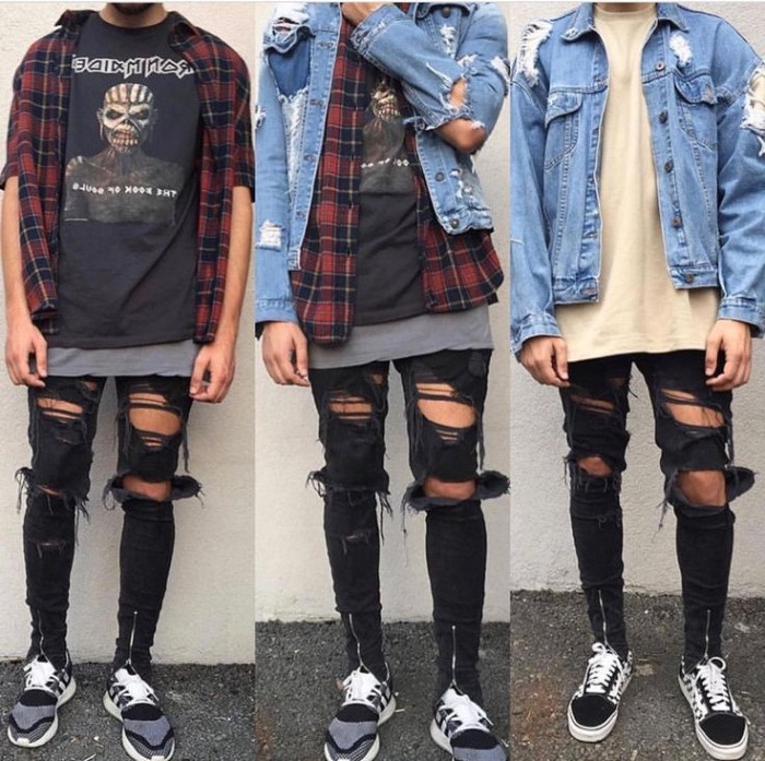 iron maiden t-shirt, worn under an unbuttoned, red flannel shirt, and a distressed denim jacket, 90s party outfits for guys, ripped black skinny jeans, with zip details