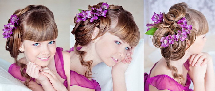 blue-eyed young girl, with brunette hair, styled into a formal up-do, and straight bangs, cute girls hairstyles, purple flowers in her hair