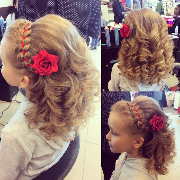 rose hair ornament in red, and a matching ribbon, braided into the hair of a small child, girl haircuts, curled dark blonde hair