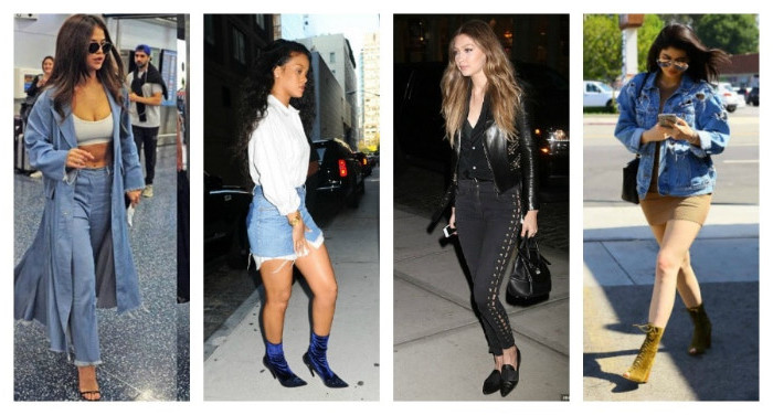 kylie jenner and rihanna, and other female celebs, wearing retro-inspired outfits, long pale denim coat, frayed denim mini skirt, black lace up trousers, oversized denim jacket