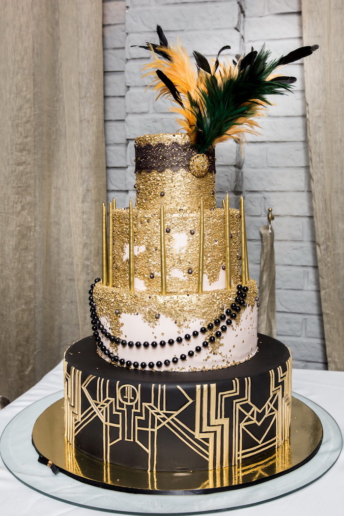 60th birthday party ideas for mom, black and white cake, decorated with gold details, pearls and feathers, inspired by the great gatsby