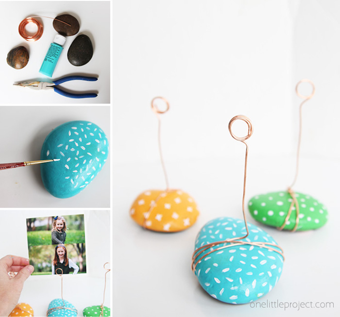rocks painted in blue green and yellow, wire around it, diy christmas gifts for boyfriend, photo holder step by step diy tutorial