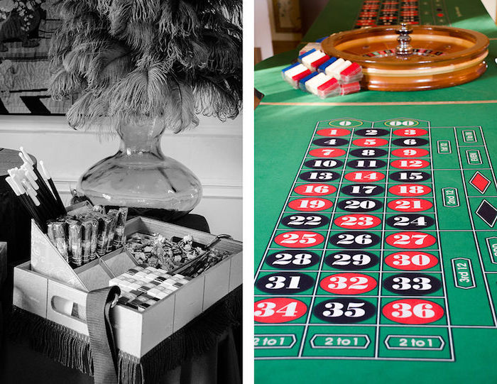 box containing vintage cigars, cigarettes and other items, placed near a clear vase, containing ostrich feathers, next image shows a roulette