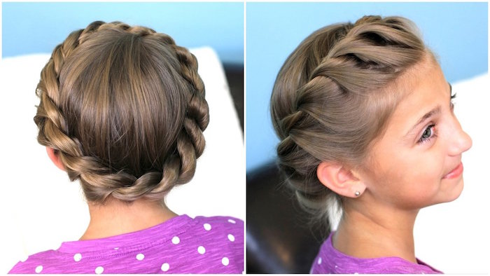 crown-like round braid, on a brunette girl's head, little girl haircuts, seen from two angles
