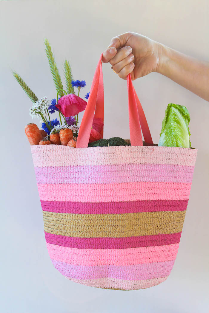 tote bag painted in shades of pink and gold, diy christmas gifts for boyfriend, full of different vegetables and flowers