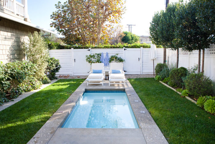 concrete surrounding a small rectangular pool, in a yard with green grass, trees and shrubs, and two sun beds